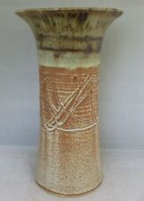 Hand Painted and Decorated Ceramic Vase Aztec Pattern with Drip