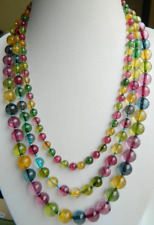 New Multicolor 6-10mm 3row Tourmaline Gems Bead Necklace 17-19""