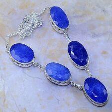 hecho a Mano Azul Piedra Preciosa Zafiro Plata de ley 925 Collar 52.1cm m57037