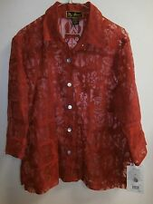 Mirasol Rayon Linen RED Burnout Blouse Large NWT