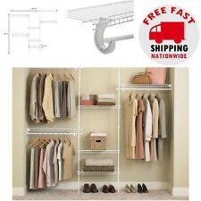 Closet Shelving Organizer Kit White Metal Wire Rack Wardrobe Clothing Storage