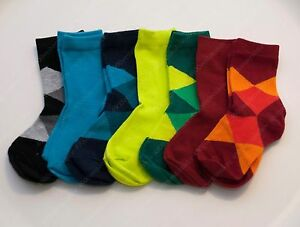 H&M boy colorful solid checker crew socks 7 pairs pack set