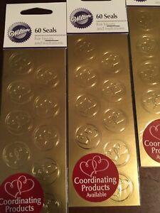 60 Wilton Gold Golden Heart Hearts Wedding Bridal Envelope Seals Stickers