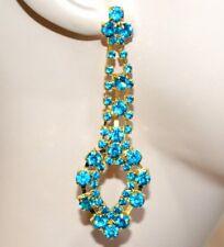 ORECCHINI donna oro dorati pendenti gocce cristalli strass azzurri turchesi G8