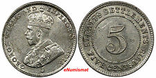 Straits Settlements George V Silver 1919 5 Cents UNC KM# 31
