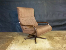 EB388 Danish Brown Tubular Steel Swivel Lounge Chair Vintage Mid-Century Modern