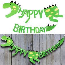 happy birthday dinosaur paper banner hanging bunting party diy decor supplies  R