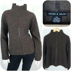 Deane & White Pure Wool Size XL/14 Jumper Zip Up Top Cardigan Walking Hiking