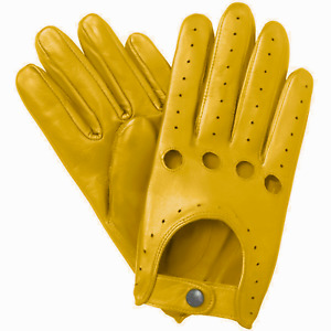 NEW MEN'S CHAUFFEUR  REAL LAMBSKIN SHEEP NAPPA LEATHER DRIVING GLOVES -  MUSTARD