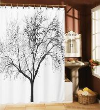 Black Tree Pattern Shower Curtain Bathroom Waterproof Mildewproof Fabric 12 Hook