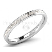 F/VS 0.25ct Channel Set Baguette Cut Diamond Half Eternity Ring in 950 Platinum