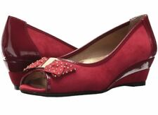 J Renee Azahar Red Peep Toe Bow Wedge Shoes 12