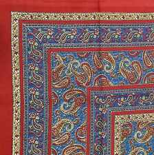 """Handmade Paisley Print 100% Cotton Tapestry Tablecloth Bedspread Twin 70""""x106"""""""