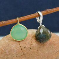 Solid 925 Sterling Silver Green Onyx Labradorite Gemstone Combo Gift Pendant Set