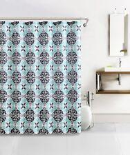 Blue, Gray, Charcoal Kaleidoscope Design Waffle Fabric Shower Curtain w 12 Hooks