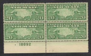 Scott # C9 beautiful Block airmail plate # margin  hinged