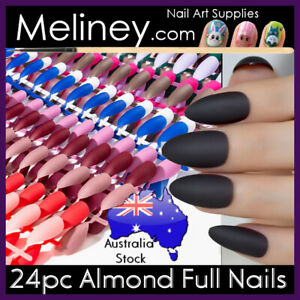 24pc Matte Almond Full Cover Nail Stiletto Manicure False Fake Nails pointy oval