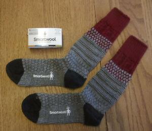 "NWT SMARTWOOL Merino Wool ""Popcorn Cable"" Medium Cushion Womens Crew Socks-L $25"