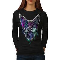 Wellcoda Mystic Cosmos Animal Cat Womens Long Sleeve T-shirt, Cute Casual Design