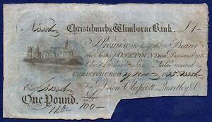 GB, Dorset, Christchurch & Wimborne Bank 1825 One Pound Banknote (Ref. b1111)