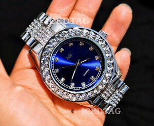 HIP HOP ICED BLING-ED OUT QUAVO WHITE GOLD PT LAB DIAMOND RAPPER BLUE DIAL WATCH