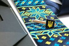 Ukrainian Kit Neck Tie Hanky Clip Clasp Embroidered Tryzub Vyshyvanka Blue Color