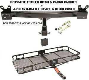 2008-2016 VOLVO V70 XC70 TRAILER HITCH + CARGO BASKET CARRIER + SILENT PIN LOCK