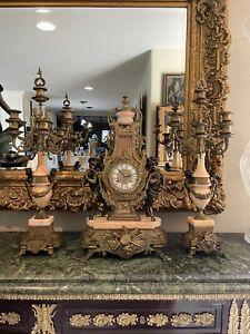 Vintage Imperial Italian Brevettato Clock & Pink Marble Set with Garniture