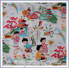BonEful Fabric FQ Cotton Quilt Asian China Doll Adopt GIRL Chinese Flower House