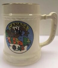 Canada Map Fort Frances 22 K Gold Rim Stein Mug Ceramic Stoneware Made in USA