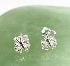 925 Sterling Silver and Cubic Zirconia Tiny Butterfly Stud Earrings
