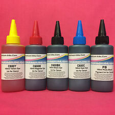 5 PIGMENT / DYE INK REFILL BOTTLES FOR CANON PIXMA MP545 MP620 MP628 MP630 MP638