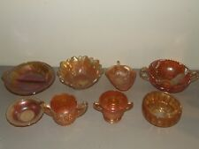 Vintage 8 pc. Lot of Marigold Iridescent Carnival Glass Bowls, Etc.