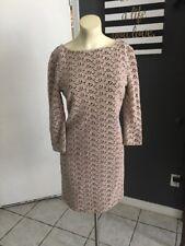 AR NWT Diane Von Furstenberg Beige Floral Eyelet 3/4 Sleeve Dress Sz 2 $365