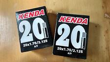 2 X kenda Bike / Cycle inner tubes 20 x 1.75 / 2.125 A/V Schrader Junior / BMX