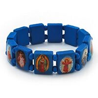 Bracelet All Saints Catholic JESUS WOODEN BLUE BRACELET STRETCHY WRISTBANDS