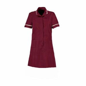 Hospital Tunic Dress Healthcare Uniform Maroon Top Nurse Doctor Carers Dentist