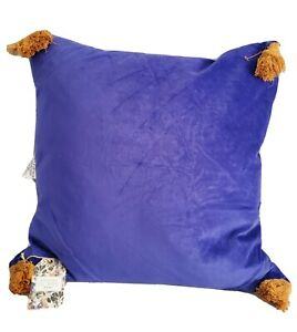 "Velvet Purple Decorative Throw PillowTassels 20x20"" Drew Barrymore Flower Home"