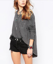 FREE PEOPLE WE THE FREE GRAY LONG SLEEVE FRONTIER HENLEY TOP TEE Sz M