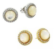 Sterling Silver Stud Earrings w/ Pearl & Cubic Zirconia Stones