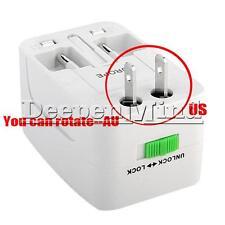 US EU AU UK To Universal World Travel AC Power Plug Adapter Socket USB Convertor