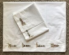 Cuddledown Standard Pillowcase Set of 2 Embroidered Lighthouses on White Cotton