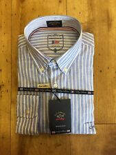 """Paul & Shark  luxury Striped Shirt Made in Italy size 15.5""""/39cm  RRP £199"""