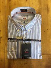 "Paul & SHARK de lujo a rayas Camisa Hecha En Italia Talla 15.5""/39cm RRP £ 199"