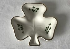 Vintage SHAMROCK CLOVER Pin Dish Gold Rim Carrigdhoun Pottery CoOp Cork Ireland