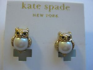 kate spade NY New York Clip On Owl Earrings pearl gold tone clipon clip-on new