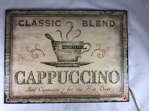 Metal Coffee Sign Classic Blend Cappuccino 10x14""