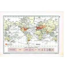 Antique Print 1910 - World Distribution of Wheat Production