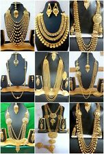 Indian 22K Gold Plated Wedding Necklace Earrings Jewelry Variations tikka Set aa