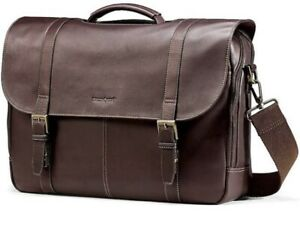 Samsonite Colombian Leather Flap-Over Messenger Bag Laptop - New In Box (NIB)